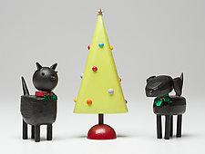 Holiday Pet Set by Hilary Pfeifer (Wood Sculpture)