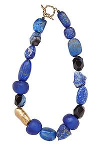 Indigo Necklace by Julie Cohn (Art Glass, Bronze & Stone Necklace)