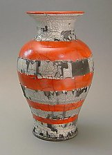 Vermillion and Crackle by Paul  Schneider (Ceramic Vase)
