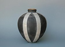 Black, White Banding and Gold Leaf by Paul  Schneider (Ceramic Vase)