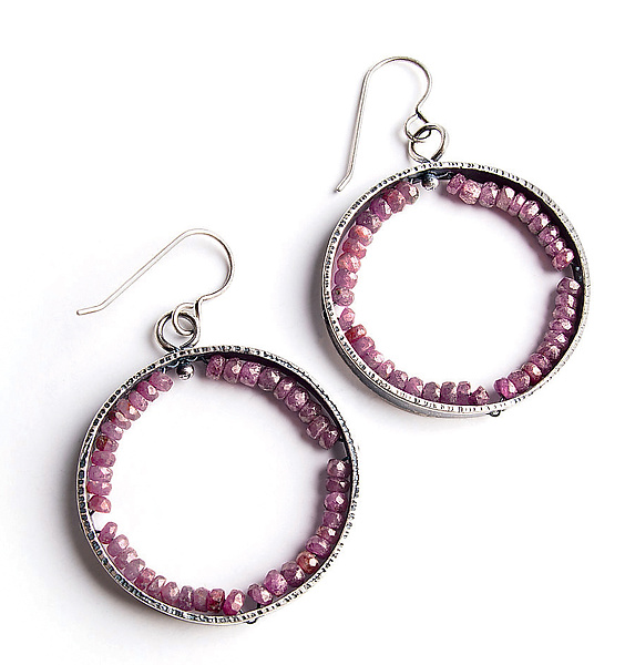 Ruby Geode Earrings