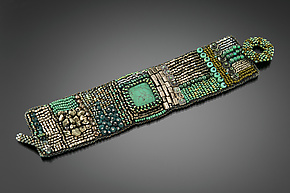 Silver and Turquoise Embroidered Cuff by Julie Powell (Beaded Bracelet)