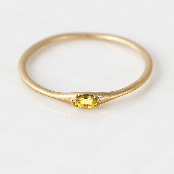 Yellow Marquise Sapphire Stacking Ring