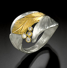 Diamonds Ring by Rosario Garcia (Gold, Silver & Stone Ring)