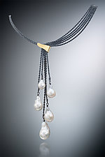 Five Pearl Necklace by Suzanne Schwartz (Gold, Silver & Pearl Necklace)