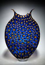 Cerulean & Gold Thread Foglio by David Patchen (Art Glass Vessel)