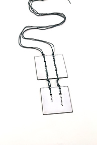 Stitched Squares Pendant by Lauren Markley (Enameled Necklace)