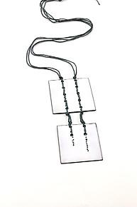 Stitched Squares Pendant by Lauren Markley (Enameled Necklace)