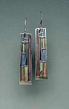 Mission Window Earrings by Carly Wright (Silver & Enamel Earrings)