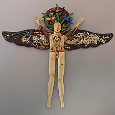 Songbird Angel by Elizabeth Frank (Wood Wall Sculpture)
