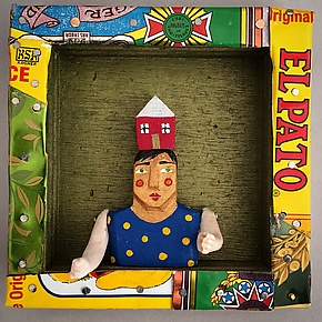 Mr. Red House by Elizabeth Frank (Mixed-Media Wall Sculpture)