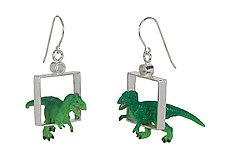 T-Rex Earrings by Kristin Lora (Silver Earrings)