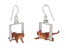Tiger Earrings by Kristin Lora (Silver Earrings)