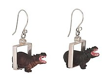 Hippos in Squares Earrings by Kristin Lora (Silver Earrings)
