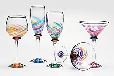Vortex Party Stemware by Michael Trimpol and Monique LaJeunesse (Art Glass Goblets)