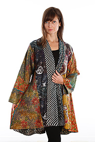 Silk Kimono Jacket #2 by Mieko Mintz  (One Size (2-20), One of a Kind Jacket)