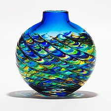 Optic Rib Flat Peacock with Cerulean by Michael Trimpol and Monique LaJeunesse (Art Glass Vase)