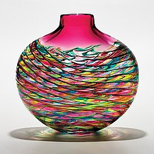 Optic Rib Flat Lime Turquoise Cranberry with Wine Red by Michael Trimpol and Monique LaJeunesse (Art Glass Vase)