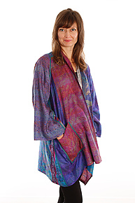 Silk A-line Jacket #1 by Mieko Mintz  (Size 1 (2-16), One of a Kind Jacket)