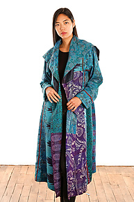 Silk A-Line Coat #2 by Mieko Mintz  (One Size (2-16), One of a Kind Coat)