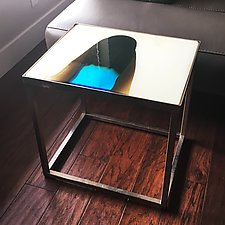 Confluence Accent Table by Sarinda Jones (Art Glass Side Table)
