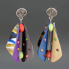 Wings Teardrop - Blue Purple Mix by Arden Bardol (Polymer Clay Earrings)