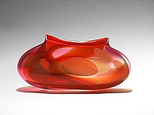 Orange Ruby Purse Vase by Bengt Hokanson and Trefny Dix (Art Glass Vase)