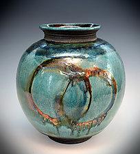 Fire Circles - Turquoise Raku by Tom Neugebauer (Ceramic Vase)