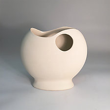 Pristine Sculpted Footed Vase by Jean Elton (Ceramic Vase)