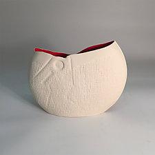 Pristine Disk Vase with Red Interior by Jean Elton (Ceramic Vase)