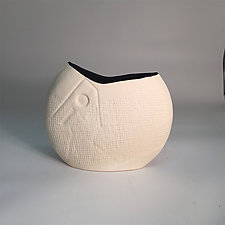 Pristine Disk Vase with Black Interior by Jean Elton (Ceramic Vase)