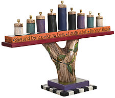 Log Menorah by Sticks  (Wood Menorah)