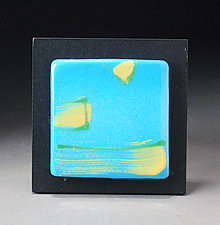 Neon Blue Wall Tile by Michael  Kifer (Ceramic Wall Sculpture)