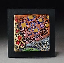 Textured Wall Tile in Red and Yellow by Michael  Kifer (Ceramic Wall Sculpture)