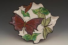 Plate with Red-Purple Butterfly by Farraday Newsome (Ceramic Plate)