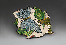 Small Plate with Blue Butterfly by Farraday Newsome (Ceramic Plate)