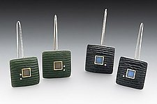 Carved Square Earring by Eileen Sutton (Silver & Resin Earrings)