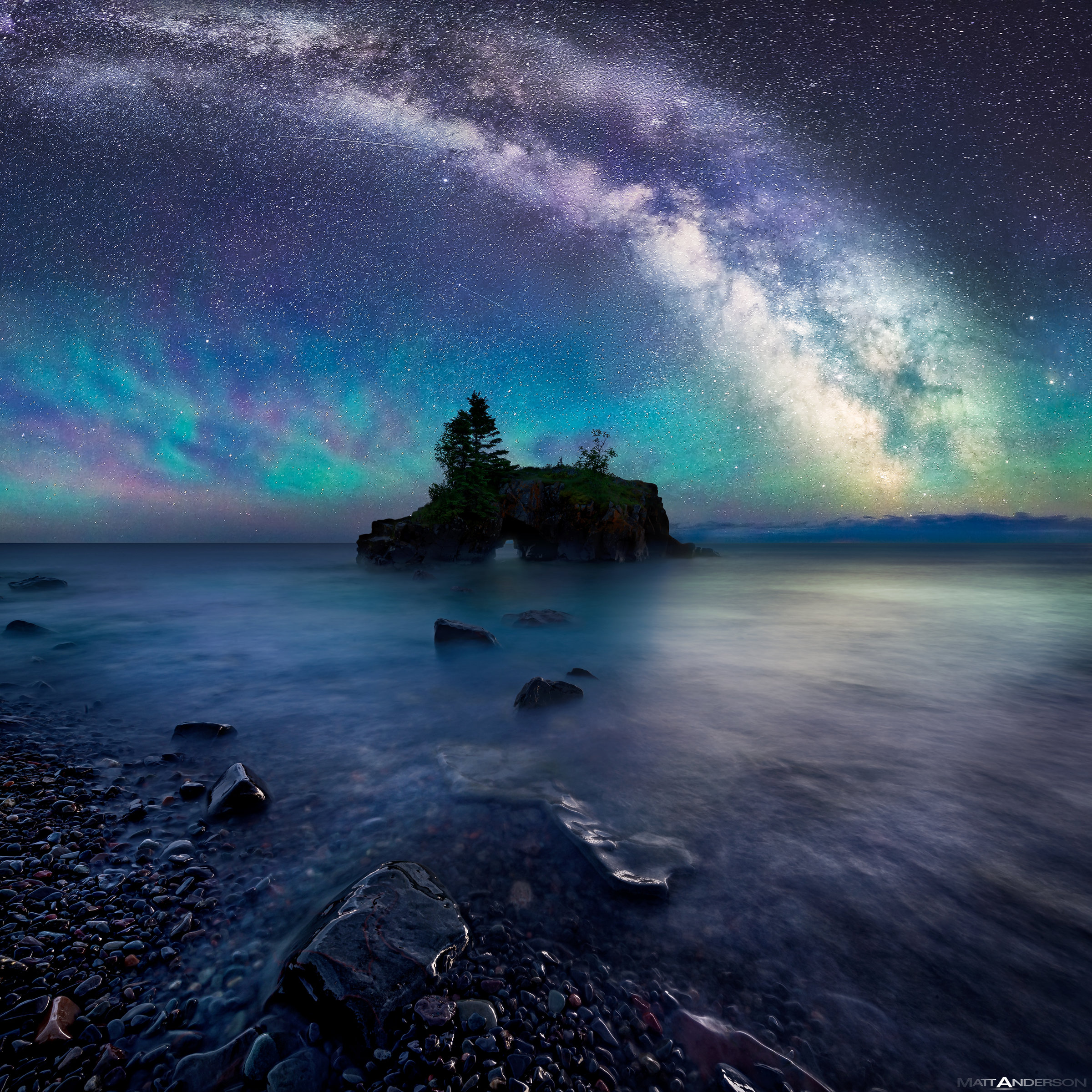 milky way over hollow rock by matt anderson color