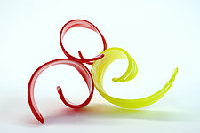 Red Yellow Curls by April Wagner (Art Glass Sculpture)