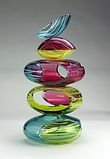Large Remnant Vessel in Primary Tropics by Justin Hunting (Art Glass Sculpture)