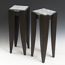 Beyond Burnt Pedestal by Douglas W. Jones and Kim Kulow-Jones (Wood Side Table)