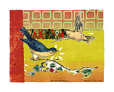 Sunrise Birds #12 by Ouida  Touchon (Monotype Print)