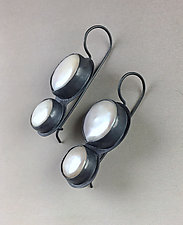 Two Tier Pearl Drop Earrings by Julie Long Gallegos (Silver & Pearl Earrings)