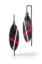 Ebony Ellipse Earrings by Laura Jaklitsch (Silver & Wood Earrings)