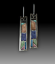 Sidelight Earrings No.471 by Carly Wright (Enameled Earrings)