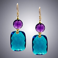 London Blue Quartz and Amethyst Coin Earrings by Judy Bliss (Gold & Stone Earrings)