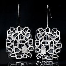 Around the Block Double by Diana Eldreth (Silver Earrings)