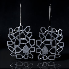 Around the Block Single Oxidized by Diana Eldreth (Silver Earrings)
