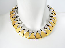 Two-Tone Gold Rhodium Round Collar by Erica Zap (Metal Necklace)