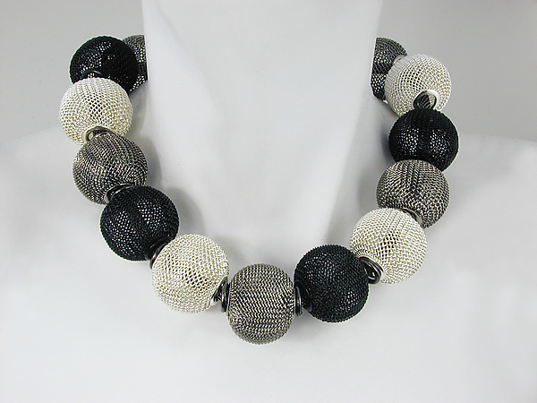 Mesh Necklace with All-Around Large Mesh Beads in Silver, Rhodium & Black Nickel Finish